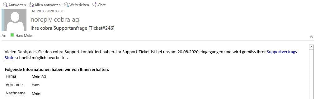 Infomail zur Ticket-Erfassung